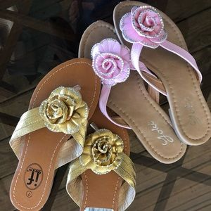 Rose flip flops. 2 Pair. Gold and Pink